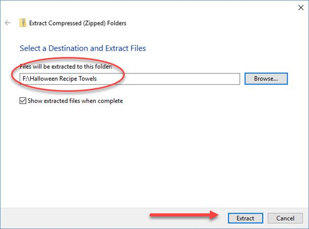 Screen shot of extract window for transfer embroidery files