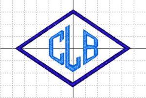 Monogram of letters CLB in a diamond shape.