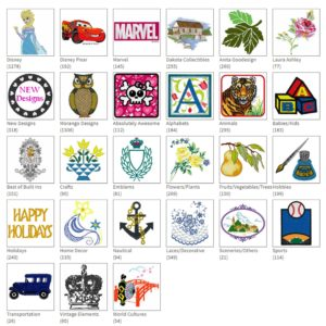 Screen shot of different categories of designs available at iBroidery