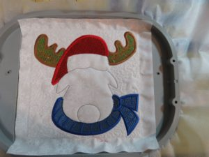 Photo of Christmas Moose with Mylar embroidery for antlers, hat and scarf