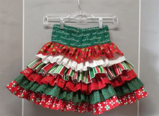 Photo of ruffled Christmas skirt with three thread rolled hems