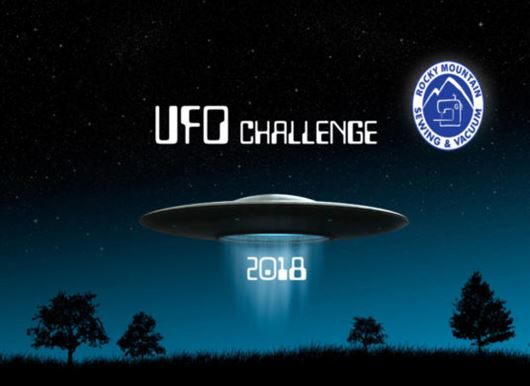 Graphic of flying saucer and words UFO challenge