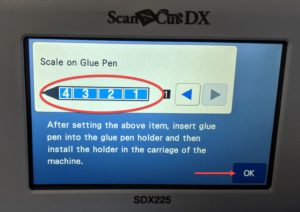Screen shot of ScanNCut DX to input amount of glue in stick