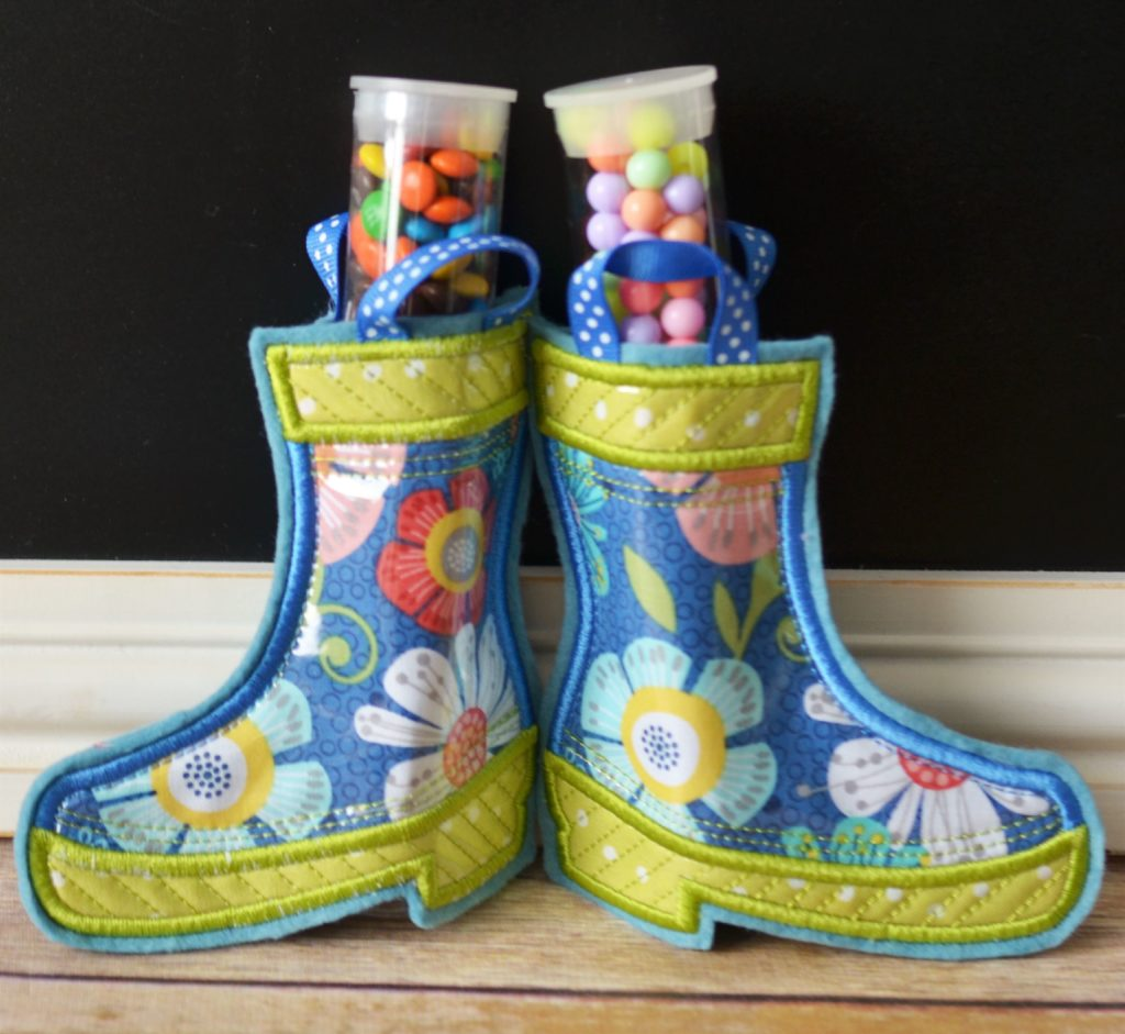 Photo of Sweet Rain Boots made in Kimberbell Club at Arvada store, a  July event