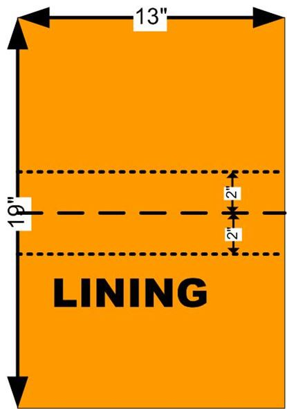 Diagram showing where to mark top of pockets on lining of sewing tote