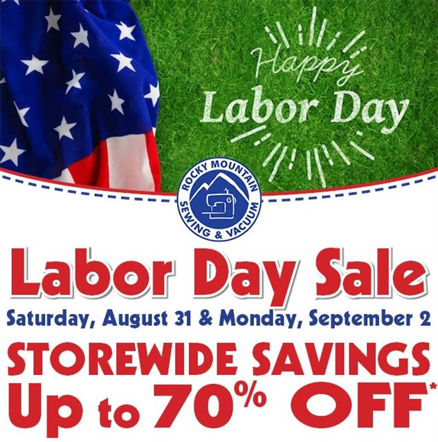 Graphic advertising Labor Day Sale at RMSV