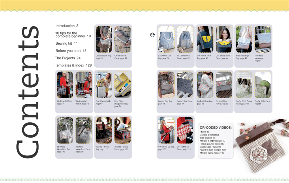 Table of contents for Half Yard Bags and Purses shown at September Sew Fun