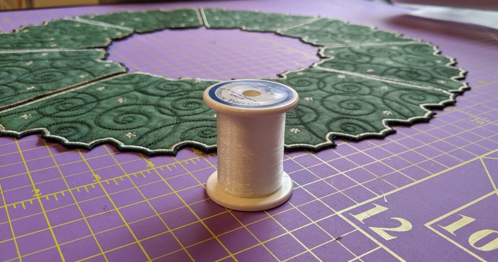 Photo of mono poly thread used to sew Free Standing Holiday Wreath panels together