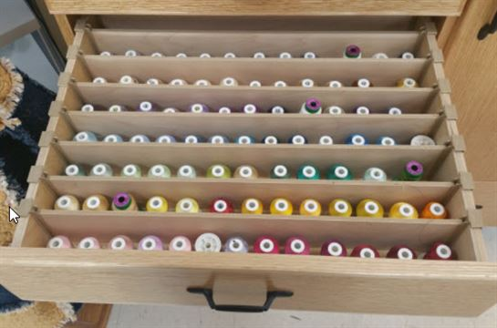 Unique Sewing Furniture drawer with thread dividers