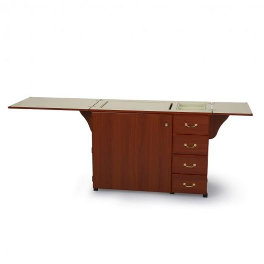 Arrow Norma Jean cherry sewing cabinet top open
