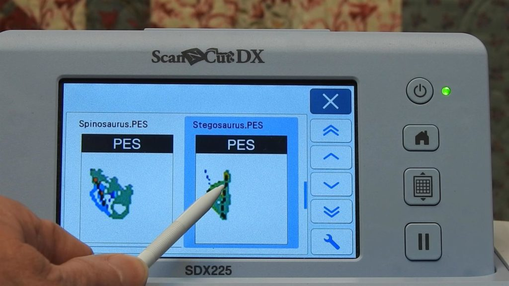 Select pes file on ScanNCut SDX225