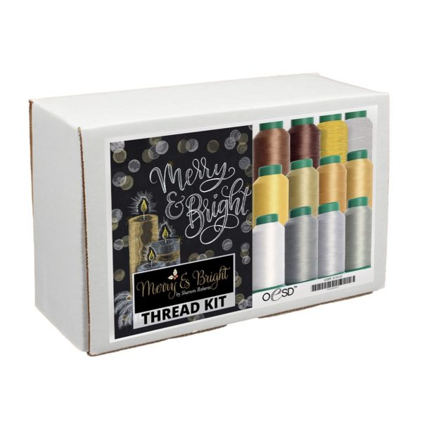 merry&bright white and gold thread kit